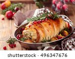 stuffed turkey breast with... | Shutterstock . vector #496347676