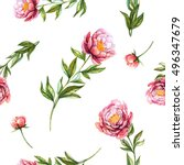peonies. watercolor seamless... | Shutterstock . vector #496347679