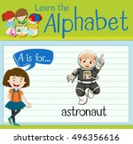 flashcard letter a is for... | Shutterstock .eps vector #496356616