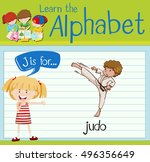 flashcard letter j is for judo... | Shutterstock .eps vector #496356649