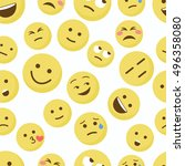emoji seamless pattern on a... | Shutterstock .eps vector #496358080