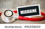 migraine   blackboard with word ...   Shutterstock . vector #496358650