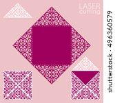 die laser cut wedding card... | Shutterstock .eps vector #496360579
