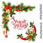 christmas corner design | Shutterstock .eps vector #496360900