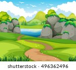 nature scene with hiking track... | Shutterstock .eps vector #496362496