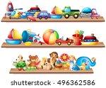 many toys on wooden shelves... | Shutterstock .eps vector #496362586