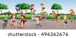 kids playing in the park | Shutterstock .eps vector #496362676