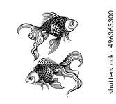 vector black and white goldfish ... | Shutterstock .eps vector #496363300