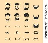 hipster hair and beards... | Shutterstock .eps vector #496366726