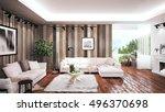 modern bright interior . 3d...   Shutterstock . vector #496370698