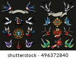 traditional tattooing style... | Shutterstock .eps vector #496372840