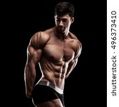 bodybuilder in a pose on a... | Shutterstock . vector #496373410