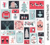 christmas advent calendar  hand ... | Shutterstock .eps vector #496374640