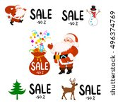 set of labels for christmas... | Shutterstock .eps vector #496374769