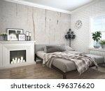 modern bright interior . 3d... | Shutterstock . vector #496376620