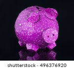 hand made piggy bank on black... | Shutterstock . vector #496376920