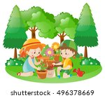 two kids planting tree in... | Shutterstock .eps vector #496378669