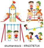 many children playing in... | Shutterstock .eps vector #496378714