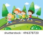 kids running down a road | Shutterstock .eps vector #496378720