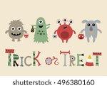 halloween little monsters. | Shutterstock .eps vector #496380160