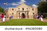 Small photo of SAN ANTONIO, TEXAS - APRIL 15: Tourists visit the historic Alamo in downtown San Antonio, Texas on April 15th, 2016.