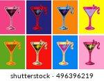 set of colored cosmopolitan... | Shutterstock .eps vector #496396219