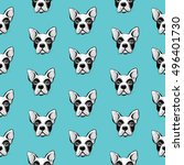 seamless pattern with cute dogs ... | Shutterstock .eps vector #496401730
