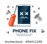 mobile phone with screwdriver... | Shutterstock .eps vector #496411240