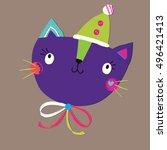 pattern cats   Shutterstock .eps vector #496421413
