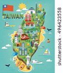 taiwan travel map  with chinese ... | Shutterstock .eps vector #496423558