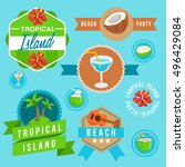 tropical island   island badge... | Shutterstock .eps vector #496429084