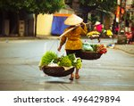 women selling flowers in the... | Shutterstock . vector #496429894