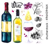wine set. winemaking products... | Shutterstock . vector #496439464