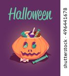 happy halloween greeting card.... | Shutterstock .eps vector #496441678