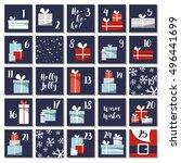 christmas advent calendar with...   Shutterstock .eps vector #496441699