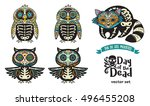 collection with sugar skull... | Shutterstock .eps vector #496455208