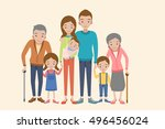 big family together. vector... | Shutterstock .eps vector #496456024