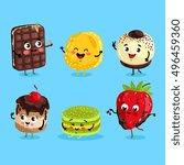 cartoon funny foods characters... | Shutterstock .eps vector #496459360