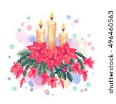 merry christmas watercolor... | Shutterstock . vector #496460563