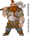 fantasy style dwarf with axe | Shutterstock .eps vector #496460668