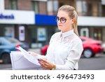 business stylish girl or...   Shutterstock . vector #496473493