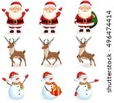 christmas reindeer  santa ...   Shutterstock .eps vector #496474414