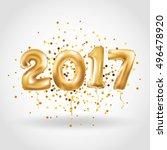 metallic gold letter balloons ... | Shutterstock .eps vector #496478920