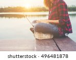 young happy hipster woman... | Shutterstock . vector #496481878