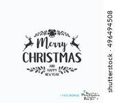 merry christmas lettering... | Shutterstock .eps vector #496494508