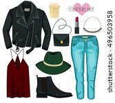 fashion set in a style flat... | Shutterstock .eps vector #496503958