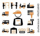shipping  logistics icon set | Shutterstock .eps vector #496516840