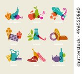 vector food  drink icon. set of ... | Shutterstock .eps vector #496520860