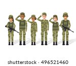 group of army  military people  ... | Shutterstock .eps vector #496521460
