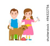 children boy and girl with dog... | Shutterstock .eps vector #496522756